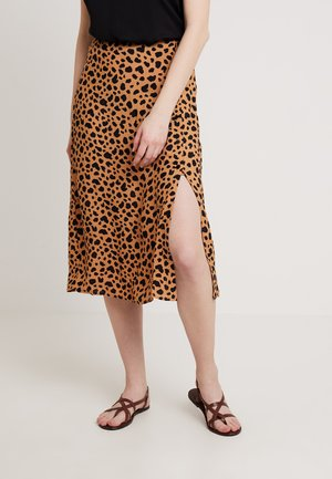 ANIMAL PRINT SIDE BUTTON SKIRT - Wrap skirt - black