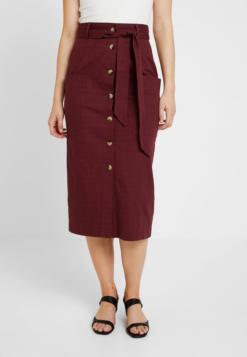 Warehouse - PENCIL SKIRT - Bleistiftrock - burgundy