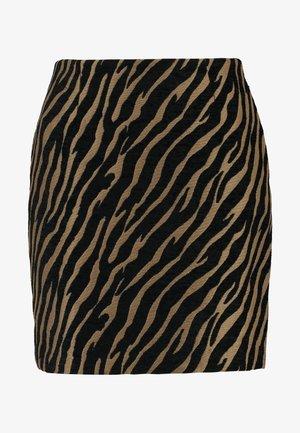 ZEBRA PELMET SKIRT - Mini skirt - brown/black