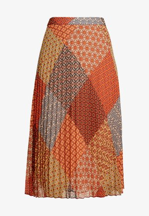 GEO SCARF PRINT PLEATED MIDI SKIRT - Spódnica trapezowa - orange print