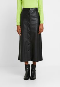 Warehouse - BUTTON THROUGH SKIRT - A-line skjørt - black - 0