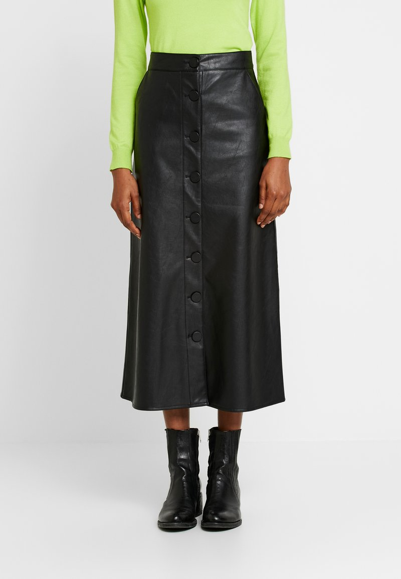 Warehouse - BUTTON THROUGH SKIRT - A-line skjørt - black