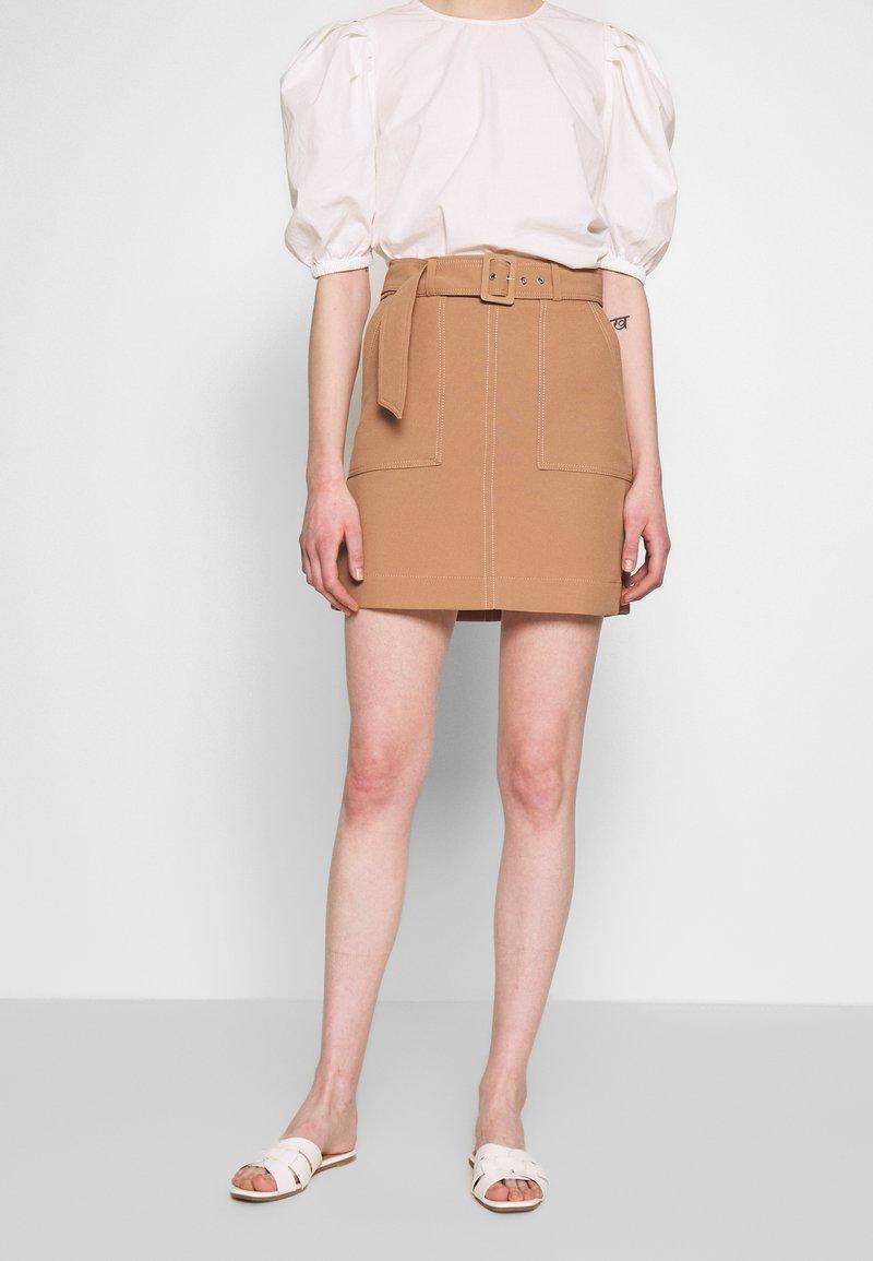 Warehouse - CONTRAST STITCH PELMET SKIRT - A-line skirt - camel