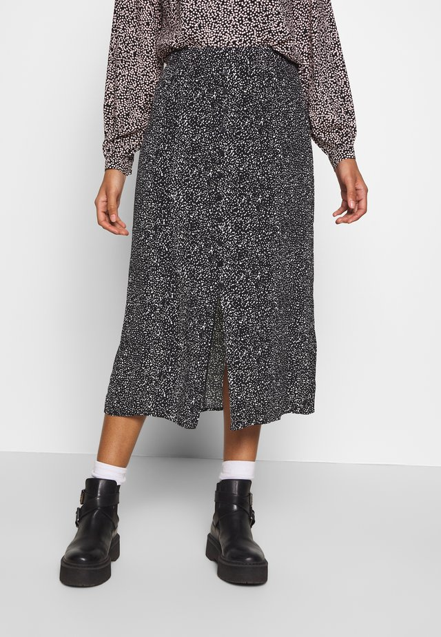 RANDOM DROP PRINTED MIDI SKIRT - A-Linien-Rock - black
