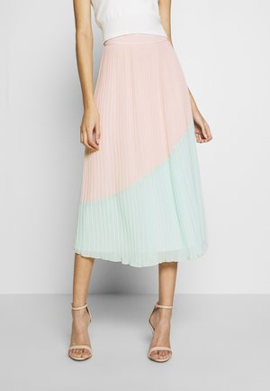 COLOURBLOCK PLEATED MIDI SKIRT - A-line skirt - mint/pink