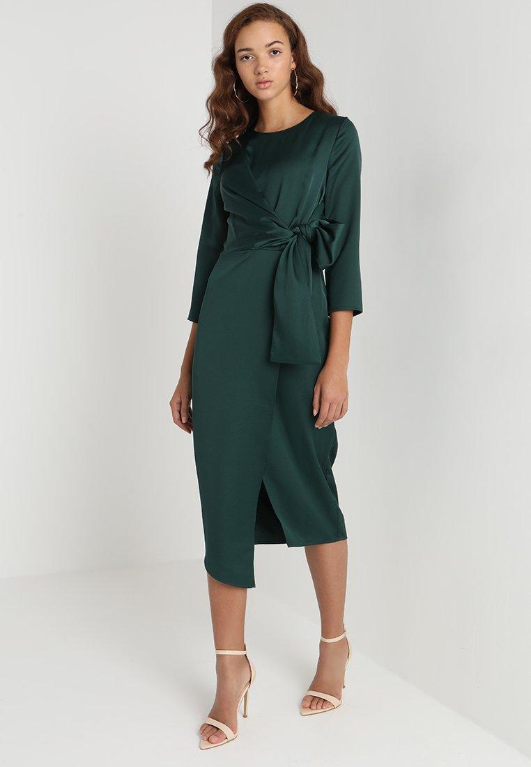 Warehouse - TWIST KNOT MIDI DRESS - Cocktailkjoler / festkjoler - emerald