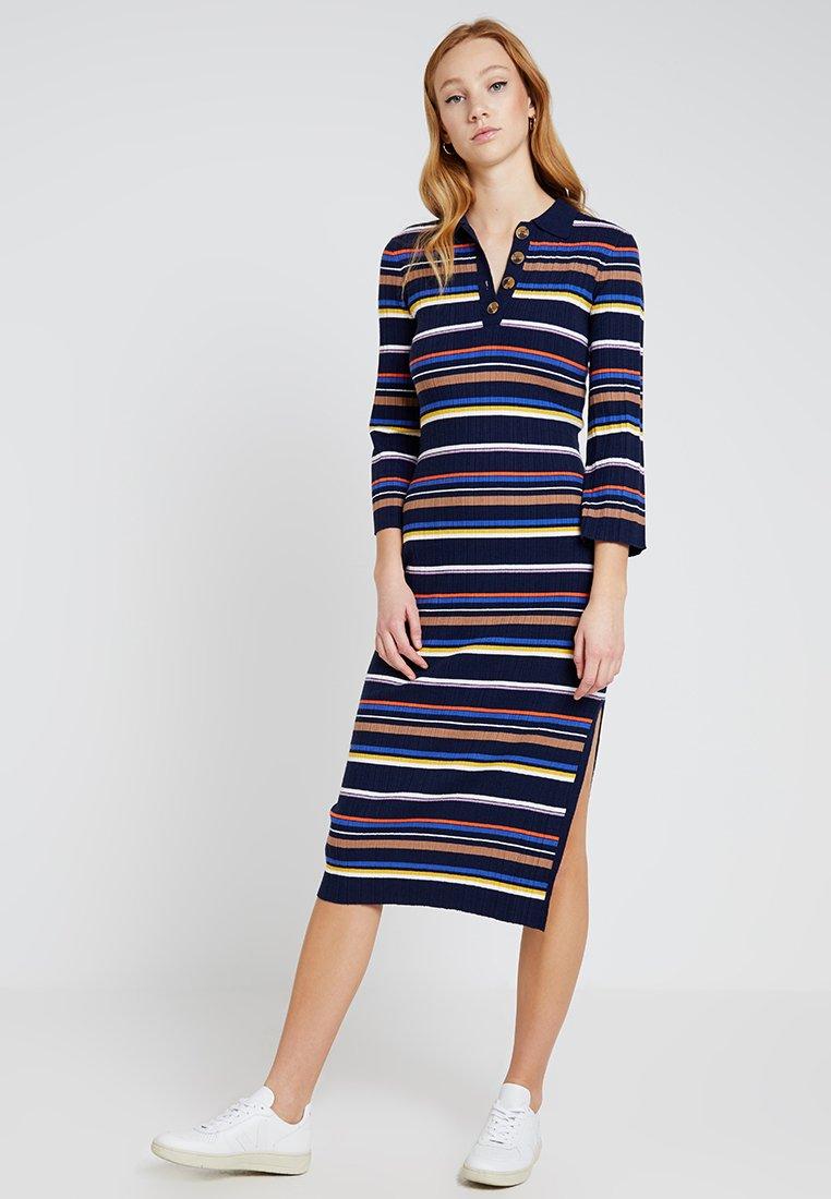 Warehouse - POLO NECK STRIPE DRESS - Strickkleid - navy/ivory/purple/orange