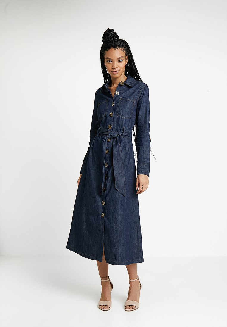 Warehouse - FULL LENGTH BELTED DRESS - Maxikleid - mid wash