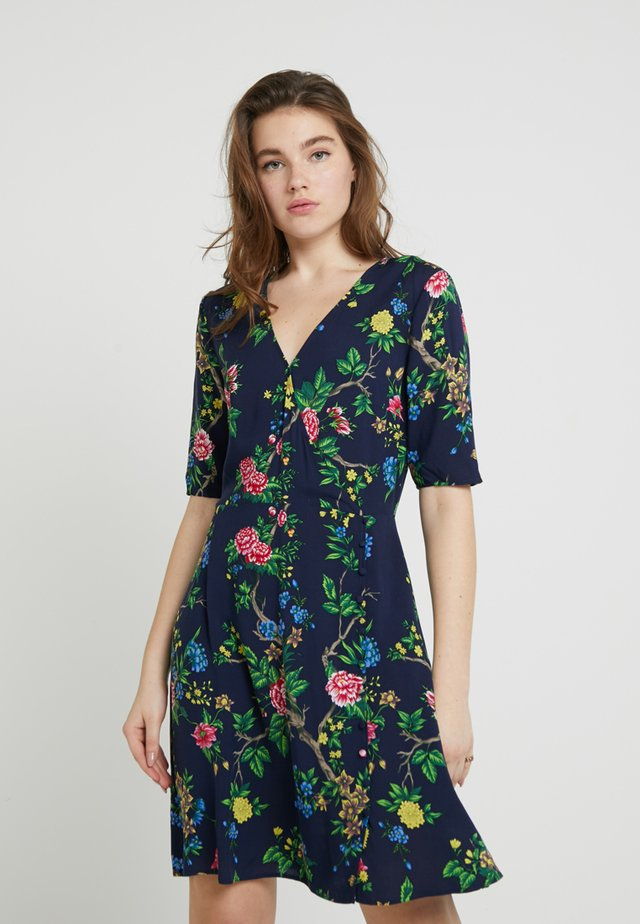 VERITY FLORAL MINI WRAP DRESS - Day dress - navy