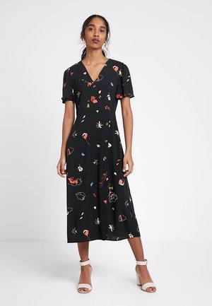 FLORAL PRESS PRINT MIDI DRESS - Denní šaty - black