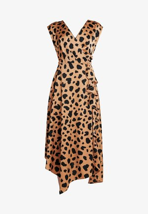 COWL BACK ANIMAL PRINT DRESS - Maxiklänning - brown