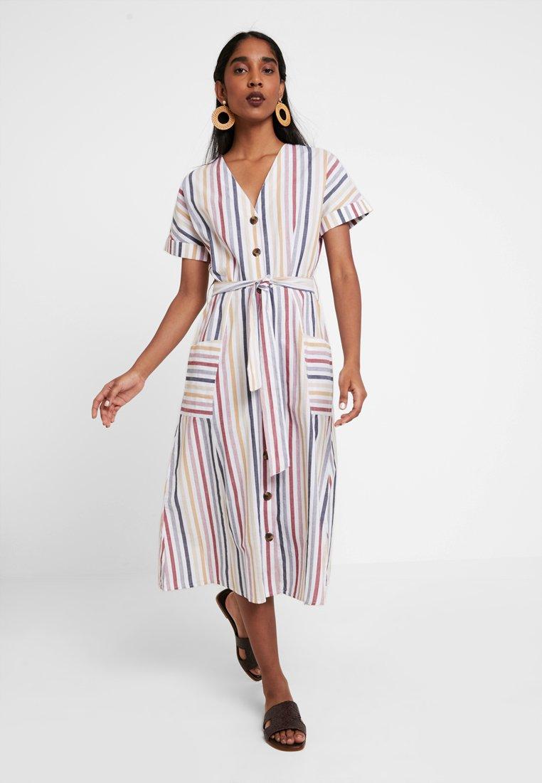 Warehouse - STRIPE BUTTON THROUGH DRESS - Vestido camisero - multi