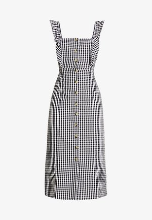 FRILL DETAIL GINGHAM MIDI DRESS - Vestido camisero - black
