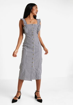 FRILL DETAIL GINGHAM MIDI DRESS - Shirt dress - black
