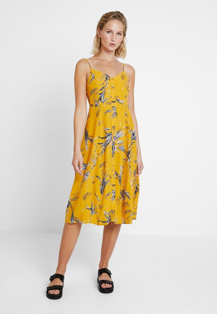 Ochre Rushes Cami Midi Summer D'été Button Front DressRobe Warehouse 4R35LjA