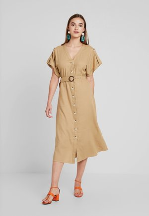 O RING BELTED DRESS - Maxi dress - stone