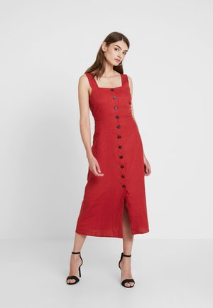 BUTTON FRONT MIDI DRESS - Day dress - rust