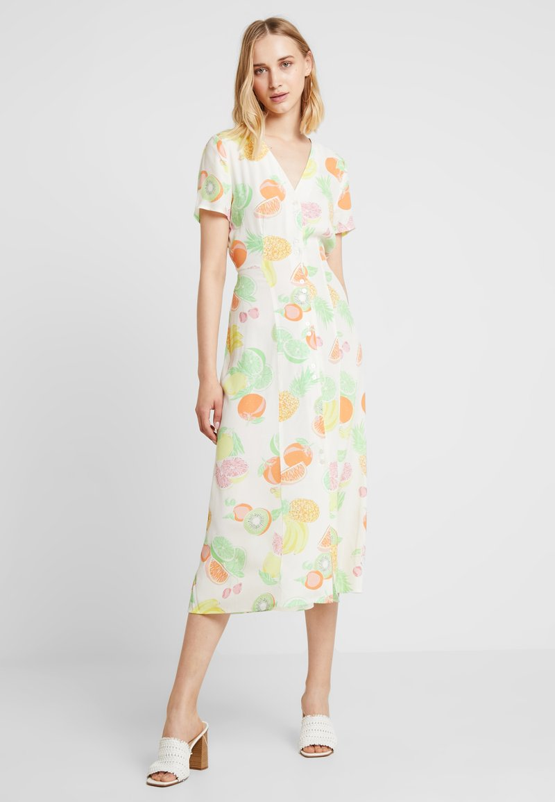Warehouse - FRUIT SALAD MIDI DRESS - Skjortklänning - ivory