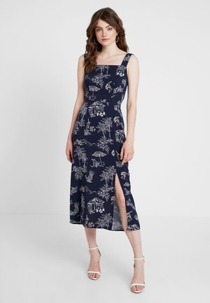ALOHA PRINT TIE BACK DRESS - Vestito lungo - navy