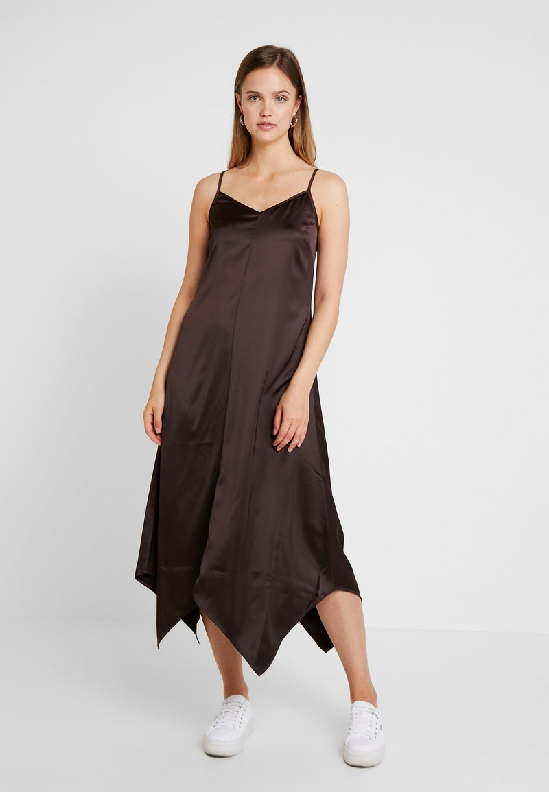 Warehouse - HANKY HEM CAMI DRESS - Maxikleid - chocolate