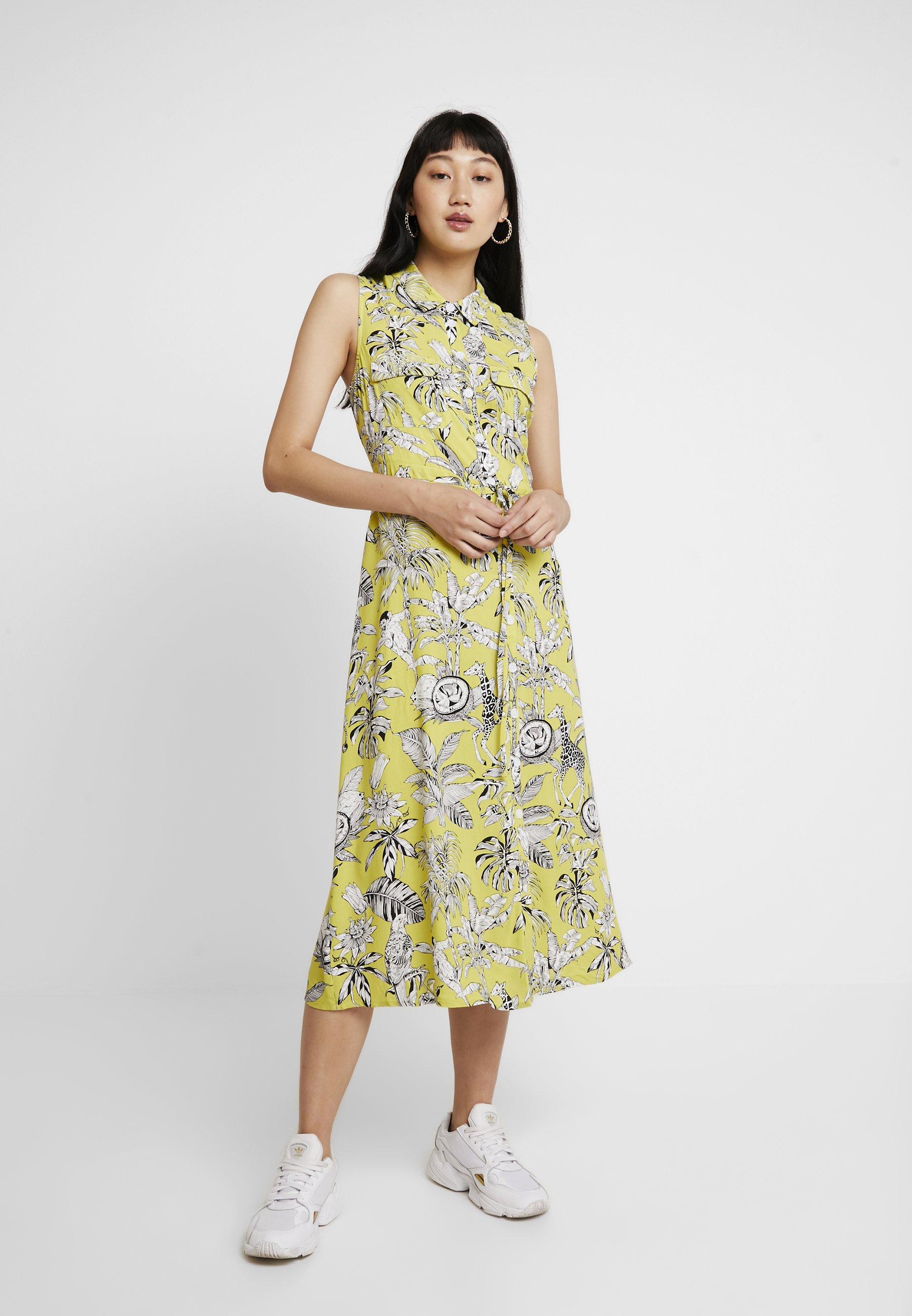 Warehouse Yellow Chemise DressRobe Print Jungle A4j35RL