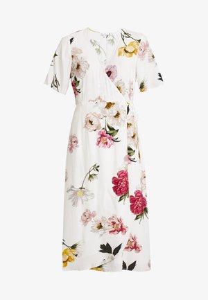 FLORAL PRINT WRAP DRESS - Freizeitkleid - ivory