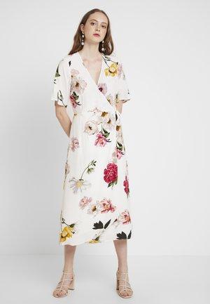 FLORAL PRINT WRAP DRESS - Korte jurk - ivory