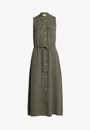 TEXTURED BUTTON THROUGH DRESS - Robe chemise - khaki