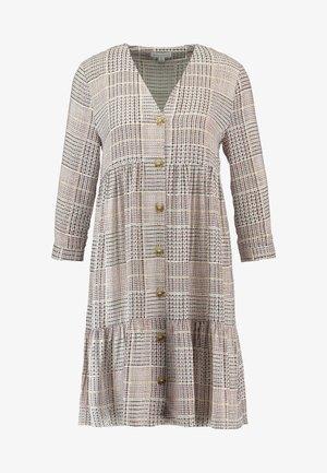 SABLE CHECK TIERED BUTTON FRONT MINI DRESS - Košilové šaty - offwhite/cognac