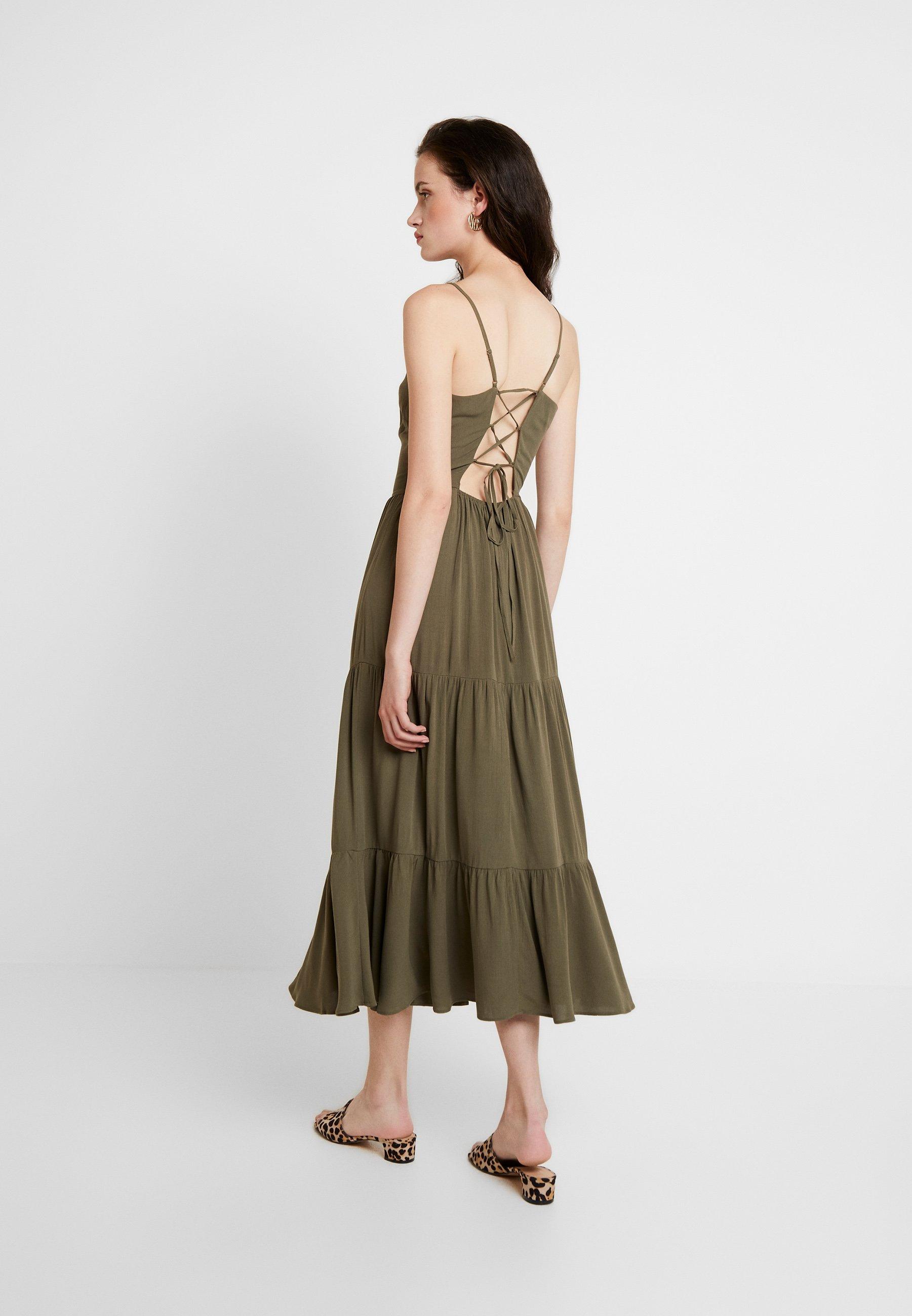 Warehouse Robe longue - vert sage
