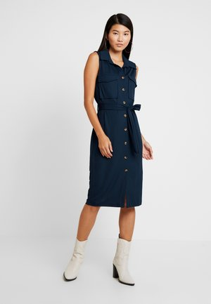 UTILITY BUTTON THROUGH DRESS - Jerseykjole - navy