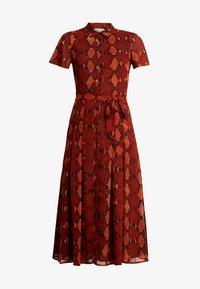 Warehouse - SNAKE PRINT PLEATED MIDI DRESS - Košilové šaty - orange - 6