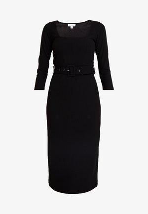 BELTED MIDI DRESS - Vestito lungo - black