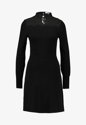 HIGH NECK FIT AND FLARE DRESS - Jumper dress - black/black