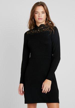 HIGH NECK FIT AND FLARE DRESS - Gebreide jurk - black/black