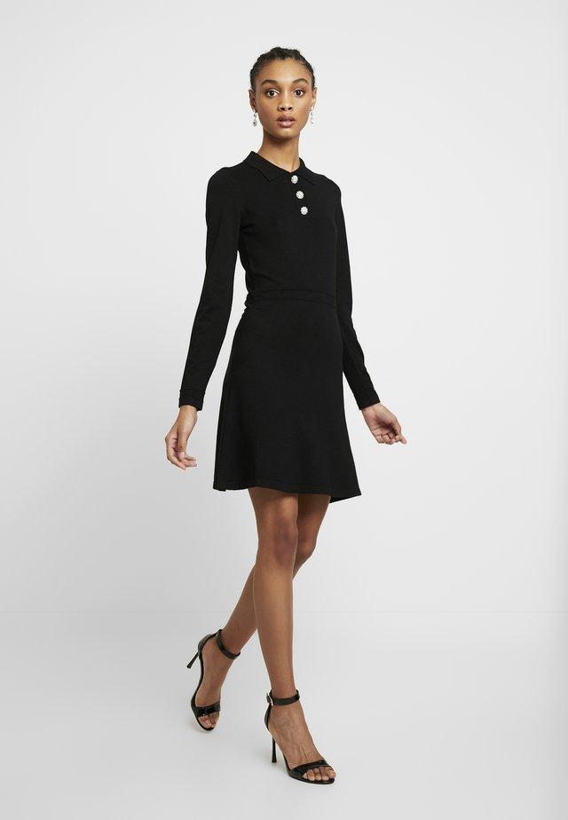 EMBELLISHED BUTTON COLLAR FIT & FLARE DRESS - Denní šaty - black