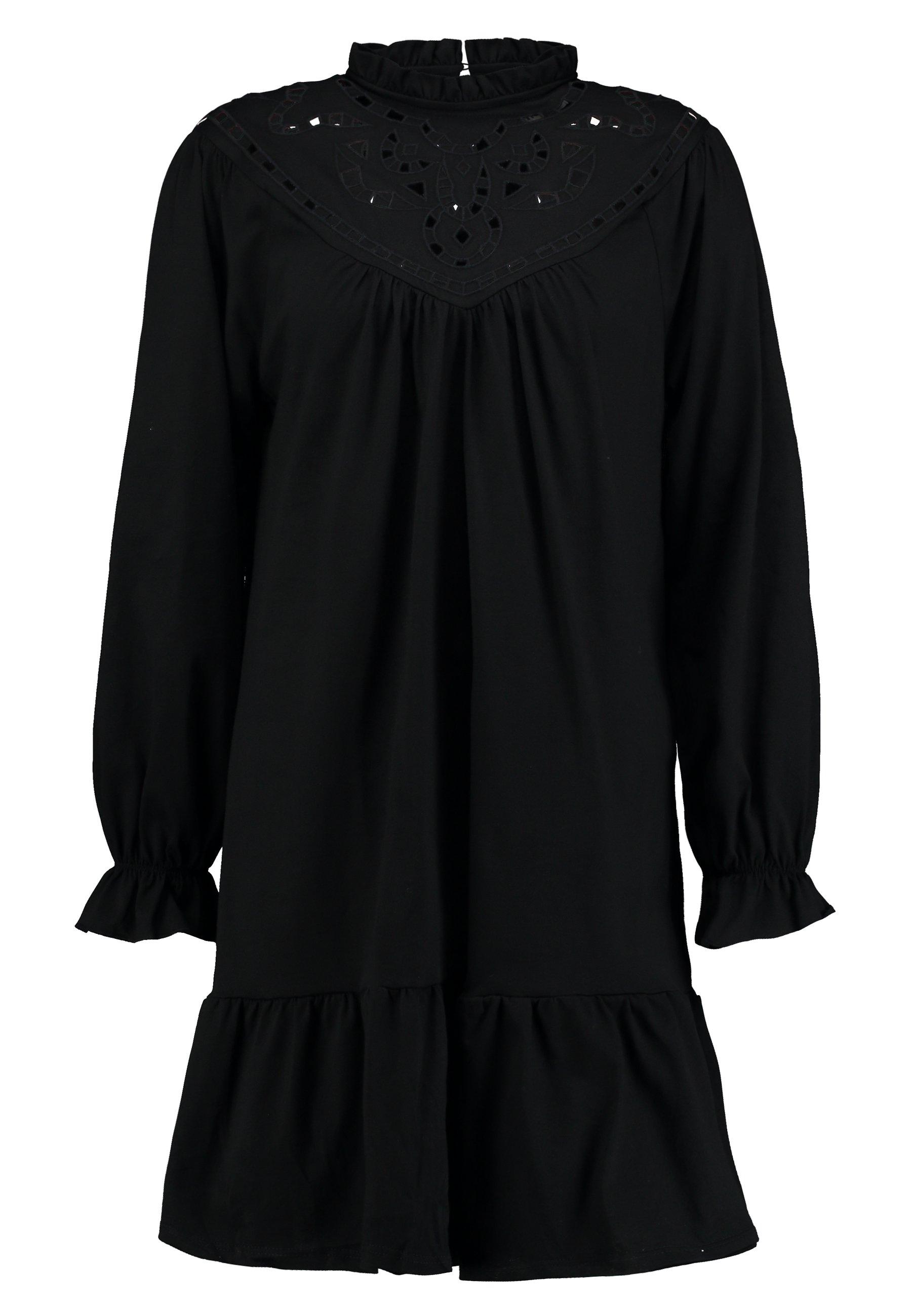 Warehouse CUTWORK TIERED DRESS - Sukienka z dżerseju - black