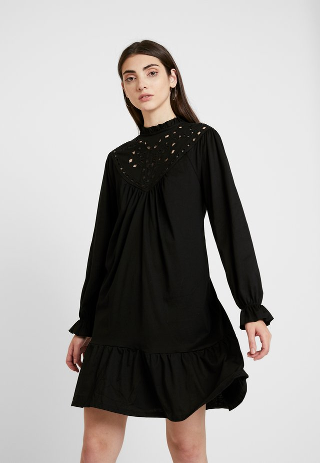 CUTWORK TIERED DRESS - Jersey dress - black