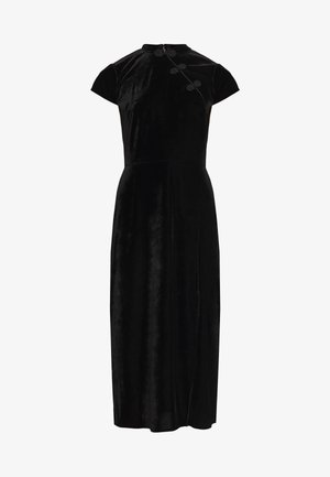 ORIENTAL NECK MIDI DRESS - Vestido de cóctel - black