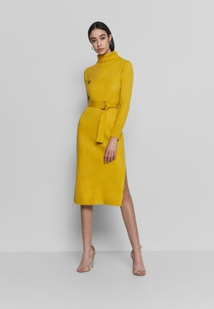 WIDE BELTED COWL DRESS - Jumper dress - yellow