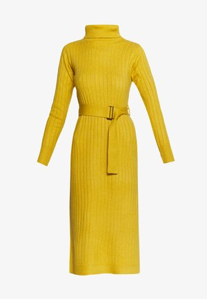 WIDE BELTED COWL DRESS - Robe pull - yellow