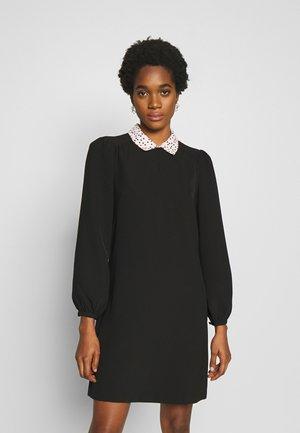 SPOT COLLAR SHIFT DRESS - Day dress - black