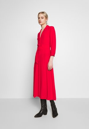 TIERED LAPEL MIDI DRESS - Denní šaty - red