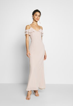 COLD SHOULDER BUTTON BACK MAXI - Occasion wear - taupe