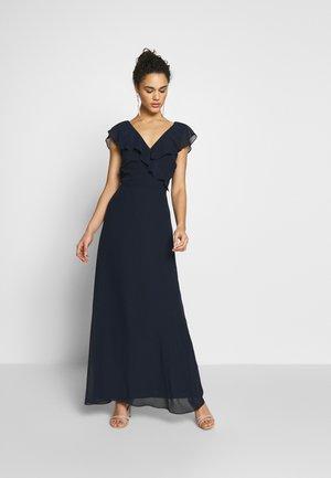 FRILL WRAP BUTTON BACK DRESS - Festklänning - navy
