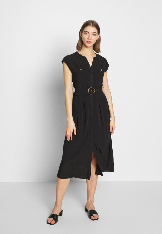HORN RING BELTED MIDI DRESS - Korte jurk - black