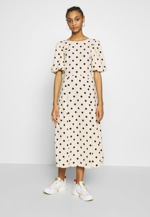 SPOT PUFF SLEEVE V-BACK MIDI DRESS - Day dress - ivory