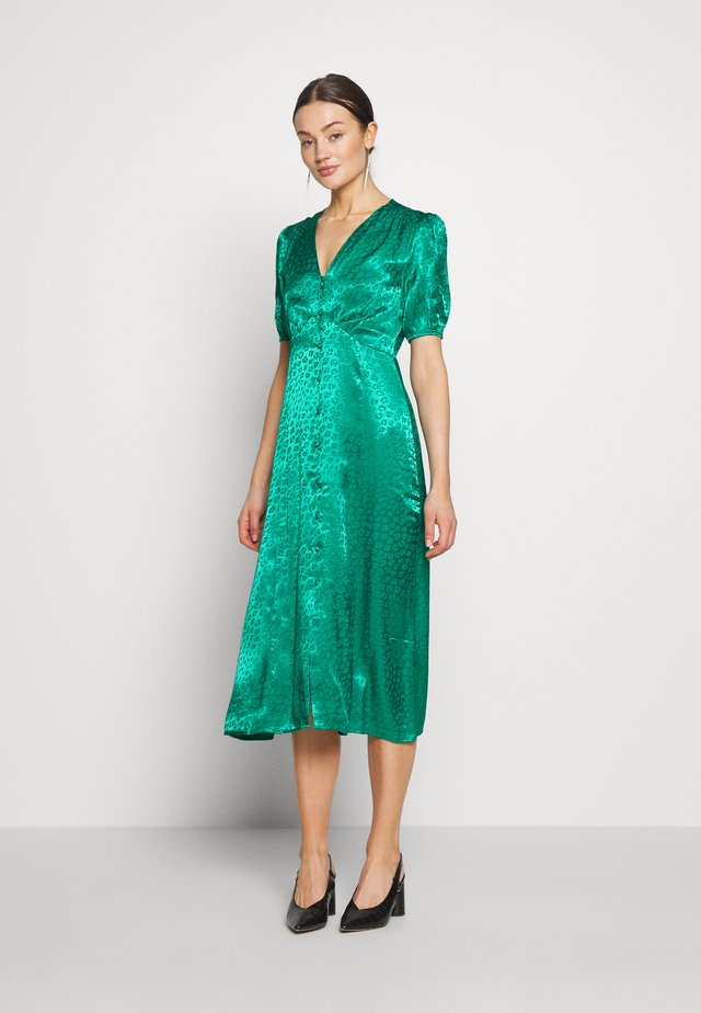 BUTTON THROUGH JACQUARD DRESS - Freizeitkleid - green