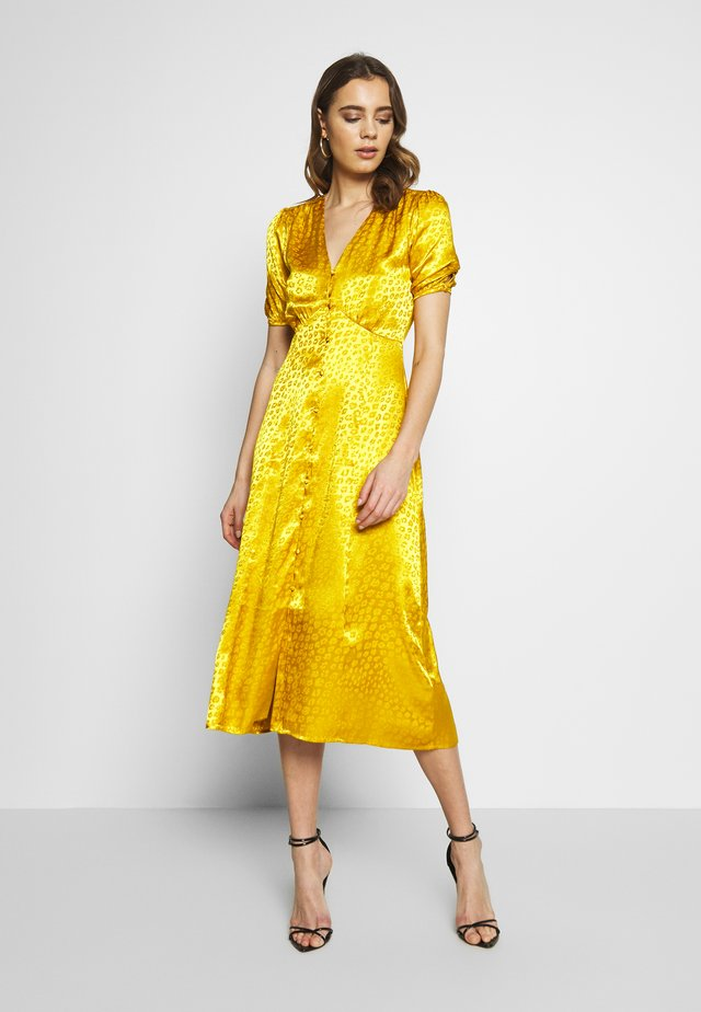 BUTTON THROUGH JACQUARD DRESS - Day dress - ochre
