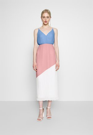 COLOURBLOCK CAMI DRESS - Cocktailjurk - pale blue/pale pink/cream